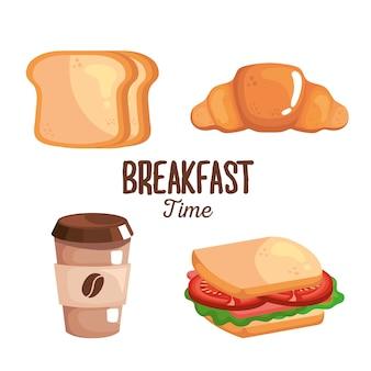 Ontbijtbrood, koffie en sandwichontwerp, voedselmaaltijd en vers thema.
