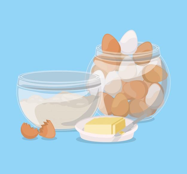 Ontbijteieren en boterontwerp, van de het verse producten natuurlijke markt van de voedselmaaltijd premie en het koken thema vectorillustratie