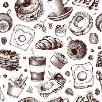 Ontbijtgerechten achtergrond. ochtendvoedsel hand getrokken illustraties. ontbijt- en brunchmenu. vintage hand getrokken eten en drinken naadloze patroon. gegraveerde stijl voedsel achtergrond.