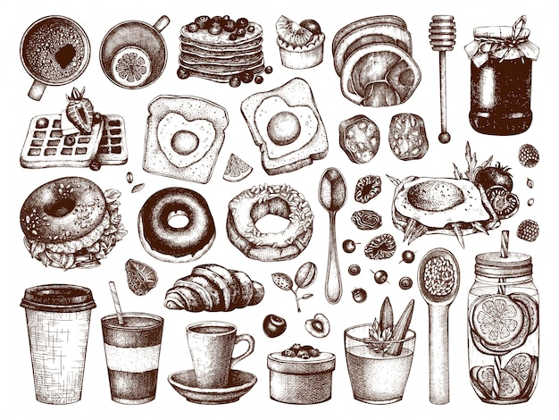 Ontbijtgerechten collectie. ochtendvoedsel hand getrokken illustraties. ontbijt en brunches menu-elementen ingesteld. vintage handgetekende schetsen van eten en drinken.