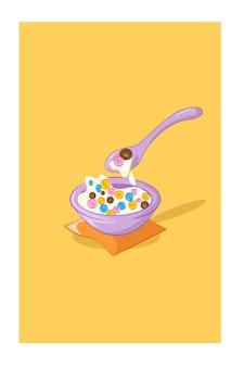 Ontbijtgranen in een kom vectorillustraties