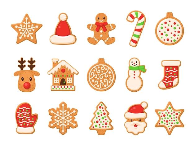 Ontbijtkoek. kerst peperkoek santa en suikerriet, kerstboom, gember cake man, sneeuwvlok, sneeuwpop en sok, huis en ster zelfgemaakte zoete suiker glazuur cookie of biscuit winter voedsel vector geïsoleerde set