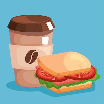Ontbijtkoffiemok en sandwichontwerp, voedselmaaltijd en vers thema.