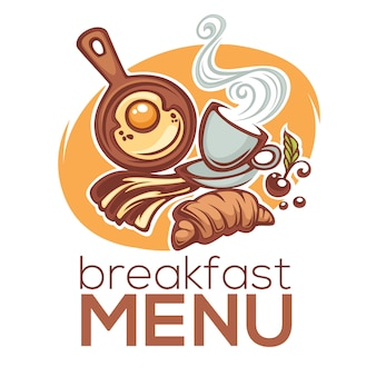 Ontbijtmenu, illustratie van traditioneel ochtendvoedsel