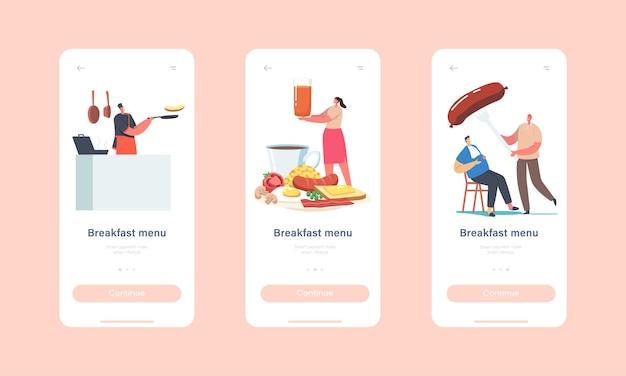 Ontbijtmenu mobiele app-pagina onboard-schermsjabloon. kleine karakters op enorme plaat met traditioneel engels ontbijt met gebakken eieren concept. cartoon mensen vectorillustratie