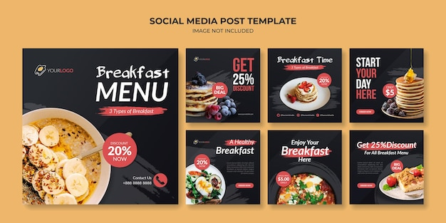 Ontbijtmenu sociale media instagram postsjabloon