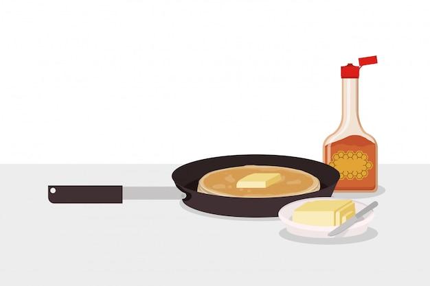 Ontbijtpannekoek en boterontwerp, verse de natuurlijke premie van de het product natuurlijke markt van de voedselmaaltijd en het koken thema vectorillustratie