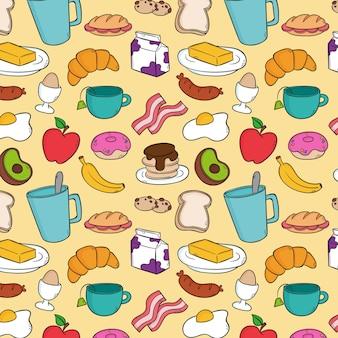 Ontbijtpatroon in de stijl van de handtekening