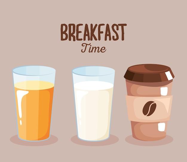 Ontbijtsap, melk en koffiedrankontwerp, voedselmaaltijd en vers thema.