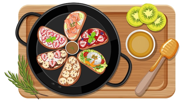 Ontbijtset in de pan met snijplank Premium Vector