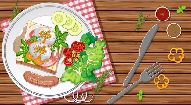 Ontbijtset in een schaal in cartoonstijl op tafel