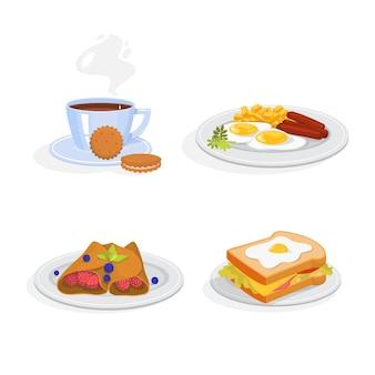 Ontbijtset. verzameling van gezonde maaltijd. ei