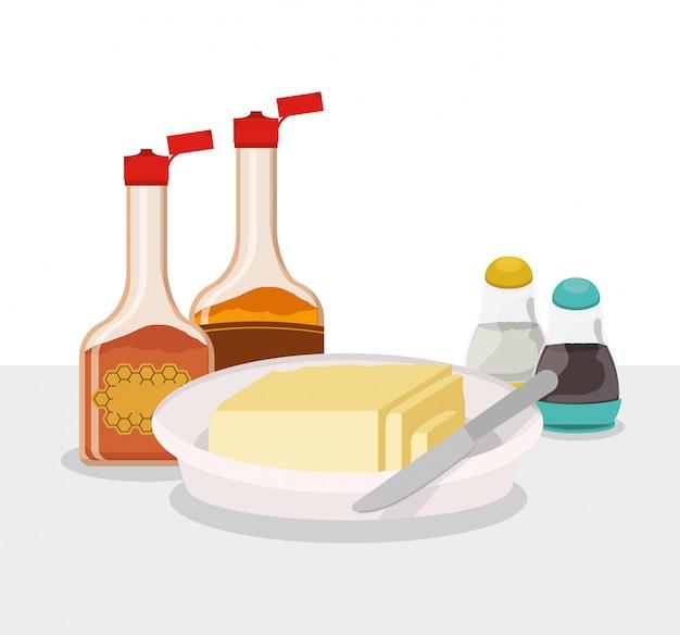 Ontbijtstroop en boterontwerp, natuurlijke de marktpremie van het voedselmaaltijd verse product en het koken thema vectorillustratie