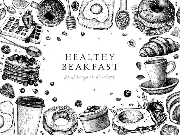 Ontbijttafel bovenaanzicht frame. ochtendvoedsel menusjabloon. ontbijten en brunches gerechten achtergrond. vintage handgetekende voedsel schetsen. gegraveerd ontbijt.