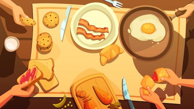 Ontbijttafel bovenaanzicht in landelijke stijl