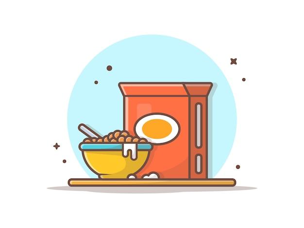 Ontbijttijd, graangewassen op kom
