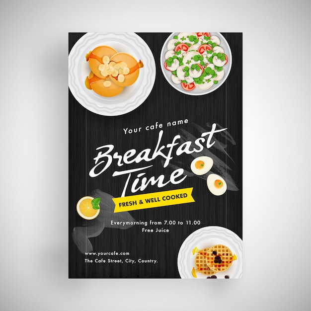 Ontbijtvlieger of menuontwerp voor restaurant.