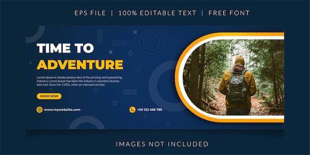 Ontdek de promotionele webbanner van travel adventure agency of de sjabloon voor spandoek voor sociale media