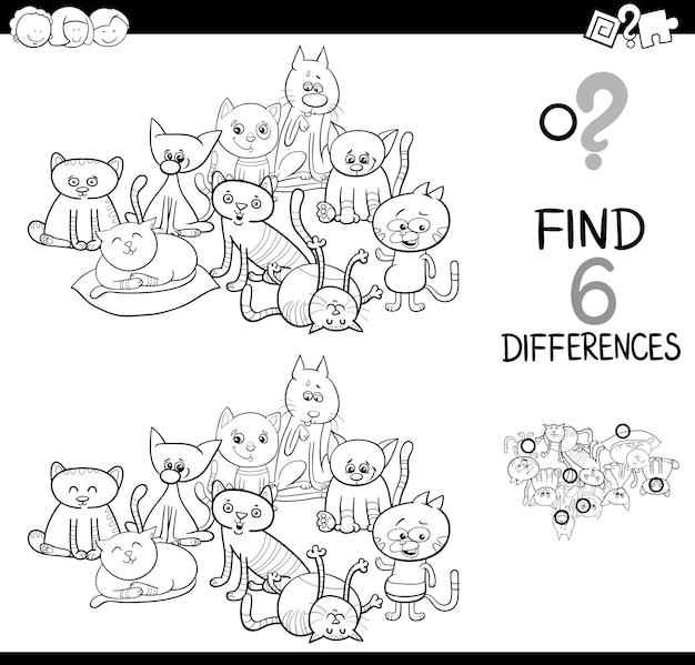Ontdek het verschil met katten kleurboek