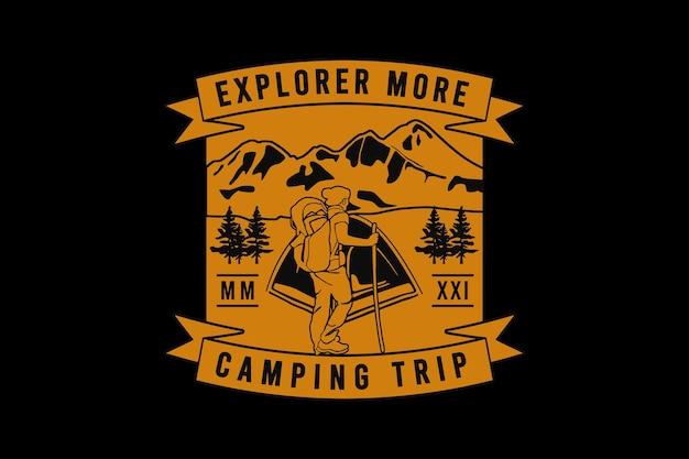Ontdek meer kampeertrips, ontwerp slib retro-stijl.