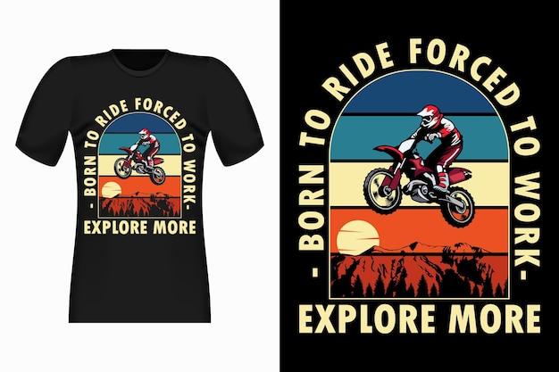 Ontdek meer met vintage retro t-shirtontwerp voor motorcross