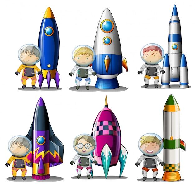 Ontdekkingsreizigers naast de raketten
