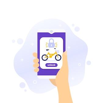 Ontgrendel fiets, mobiele app voor het delen van fietsen, vector