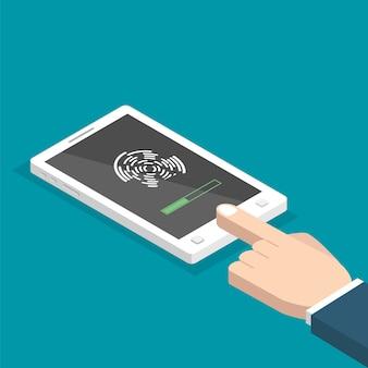 Ontgrendeld met isometrische vingerafdrukknop. toegang via vinger. handen met smartphone. gebruikersautorisatie concept. illustratie.