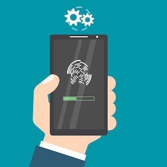Ontgrendeld met vingerafdrukknop. toegang via vinger. handen met smartphone. gebruikersautorisatie concept. illustratie.