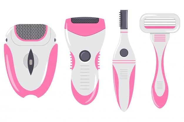 Ontharing apparatuur voor vrouwen vector cartoon set geïsoleerd op een witte achtergrond.