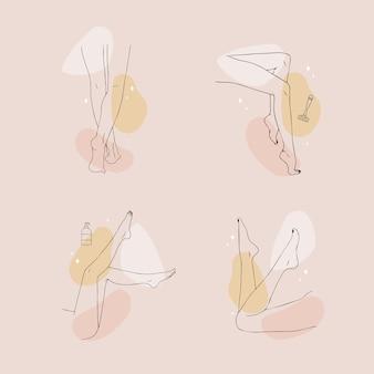 Ontharing. lineaire vrouwelijke gladde benen.