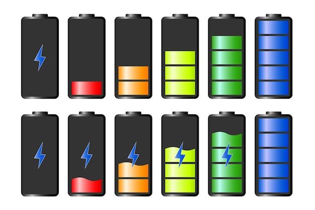 Ontladen en volledig opgeladen batterij smartphone. indicatorpictogrammen voor batterijlading. vectorafbeeldingen.