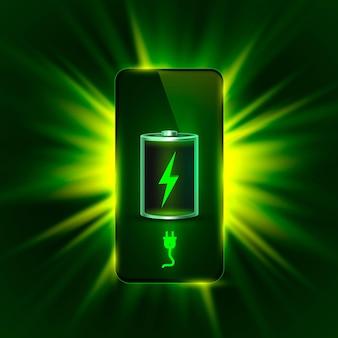 Ontladen en volledig opgeladen batterij telefoon. vector illustratie. witte achtergrond