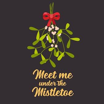 Ontmoet me onder de maretak. kerst belettering met decoratieve designelementen. wenskaart
