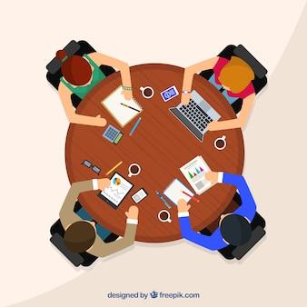 Ontmoeting achtergrond met zakelijke ronde tafel