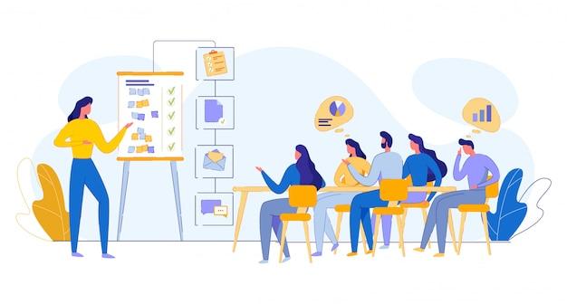 Ontmoeting met werknemers van het bedrijf, teamwerk illustratie