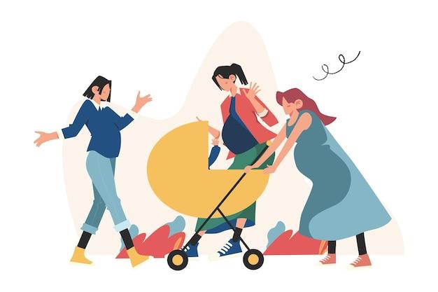 Ontmoeting met zwangere vrouwen en jonge moeders, geboorte van een baby