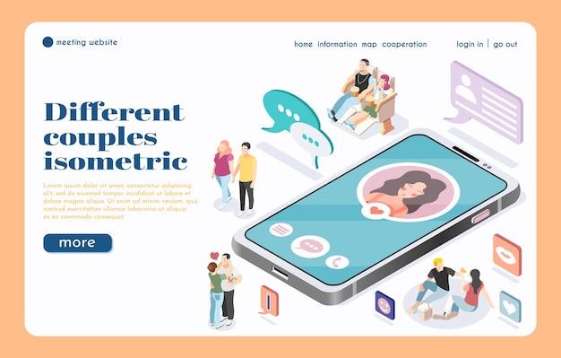 Ontmoetingswebsite-bestemmingspagina met grote isometrische illustratie van smartphones en verschillende paren die communiceren via sociale media