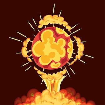 Ontploffing in de vorm van een cirkel met wolken van gele kleur om hem heen op rode achtergrond.