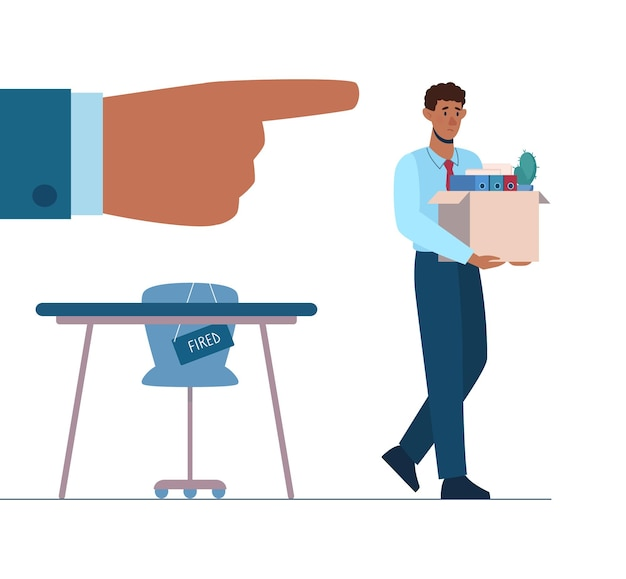 Ontslagen afro-amerikaan verlaat het kantoor met een doos in zijn handen