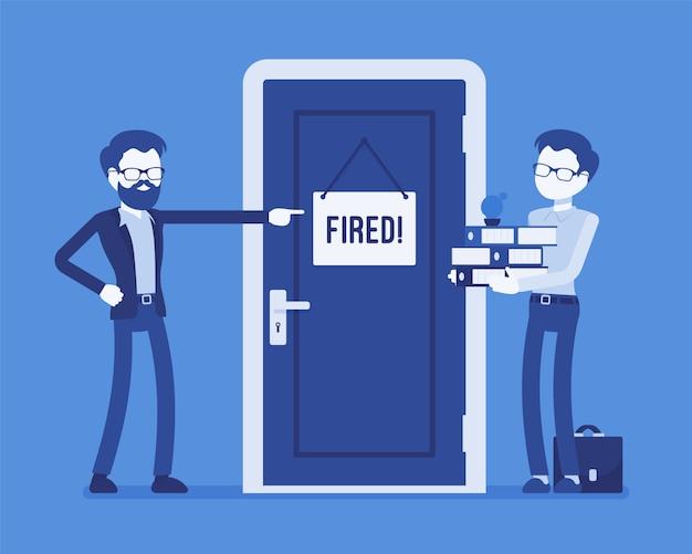 Ontslagen kantoormedewerker en baas. jonge werknemer ontslagen door boze manager, ontslagen wegens slecht werk, wangedrag, niet in staat om professionele carrière te redden. illustratie met gezichtsloze karakters