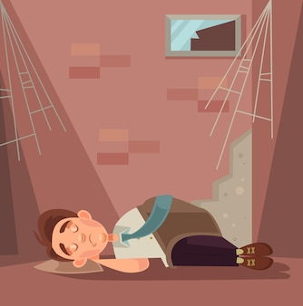 Ontslagen kantoormedewerker karakter slapen op straat cartoon afbeelding