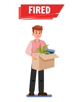 Ontslagen trieste werknemer cartoon vectorillustratie