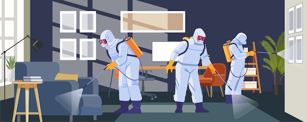 Ontsmetten van anti-coronavirus in het kantoor als preventie tegen coronavirus of pandemie van covid-19. tekenfilm, vlakke stijl illustratie