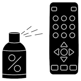 Ontsmetten van de afstandsbediening van de tv. desinfectie op afstand. desinfectie van tv-clicker met alcoholische spray. het ontsmetten van huishoudelijke artikelen voor dagelijks gebruik. voorkomen van virusverspreiding concept. geïsoleerde vectorillustratie