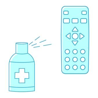 Ontsmetten van de afstandsbediening van de tv. desinfectie op afstand. desinfectie van tv-clicker met behulp van medisch ontsmettingsmiddel. het ontsmetten van huishoudelijke artikelen voor dagelijks gebruik. voorkomen van virusverspreiding concept. antibacteriële spray. vector