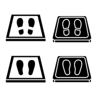 Ontsmettingsmatten eenvoudige pictogrammen antibacterieel uitgerust in vlakke stijl desinfectietapijt voor schoenen