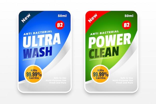 Ontsmettingsmiddel en schonere twee etiketten sjabloon ontwerpconcept