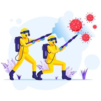 Ontsmettingsmiddelenteam in hazmat-pakken sprays die covid-19 coronavirus-cellenillustratie reinigen en desinfecteren
