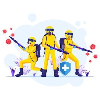 Ontsmettingsmiddelenteam in hazmat-pakken sprays die de illustratie van de coronaviruscellen reinigen en desinfecteren